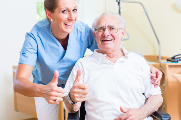Senior and old age nurse recommending nursing home